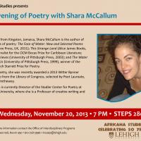 Lehigh University Africana Studies - An Evening of Poetry with Shara McCallumflier flyer